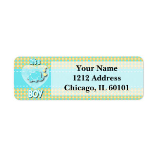 It's A Boy   Baby Elephant Return Address Label