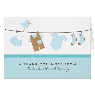 It's a Boy Baby Laundry Thank You Card (aqua)