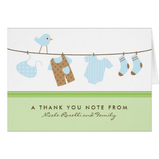 It's a Boy Baby Laundry Thank You Card (green)
