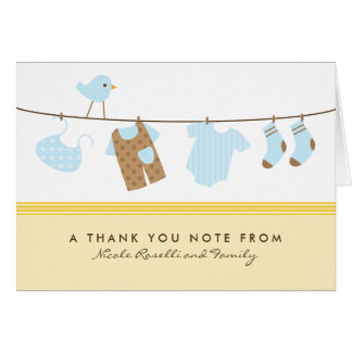 It's a Boy Baby Laundry Thank You Card (yellow)