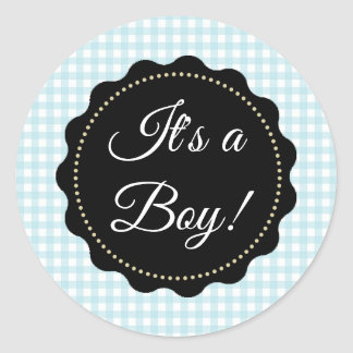 It's a Boy! Baby Shower Blue gingham Stickers