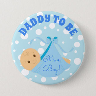 It's a Boy, Baby Shower Button Blue Polka Dot Baby