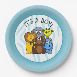 Its a Boy Baby shower Plate Zoo Animal Plates