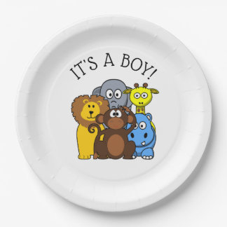 Its a Boy Baby shower Plate Zoo Animal Themed