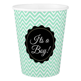 I'ts a Boy baby shower Sage Green Paper Cups