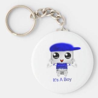 It's A Boy Basic Round Button Keychain