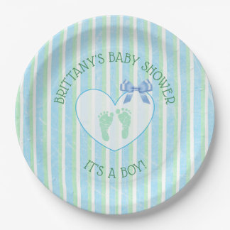Its a boy, Blue and Green Striped Baby Shower Paper Plate