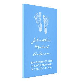 Its a Boy Blue Baby Footprints Birth Announcement Canvas Print