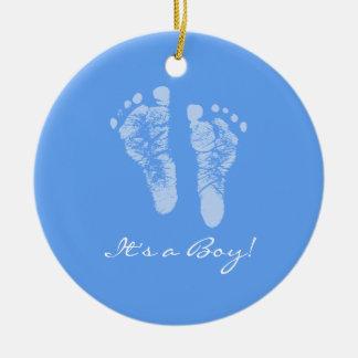Its a Boy Blue Baby Footprints Birth Announcement Ceramic Ornament