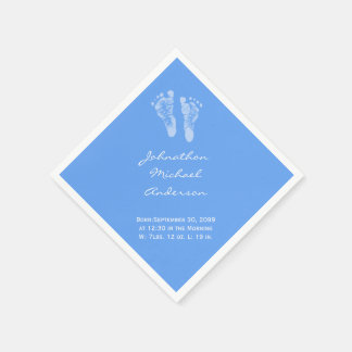 Its a Boy Blue Baby Footprints Birth Announcement Disposable Napkin