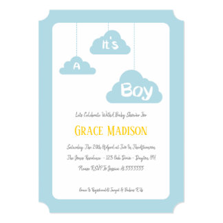 It's A Boy – Blue Baby Shower Invitation