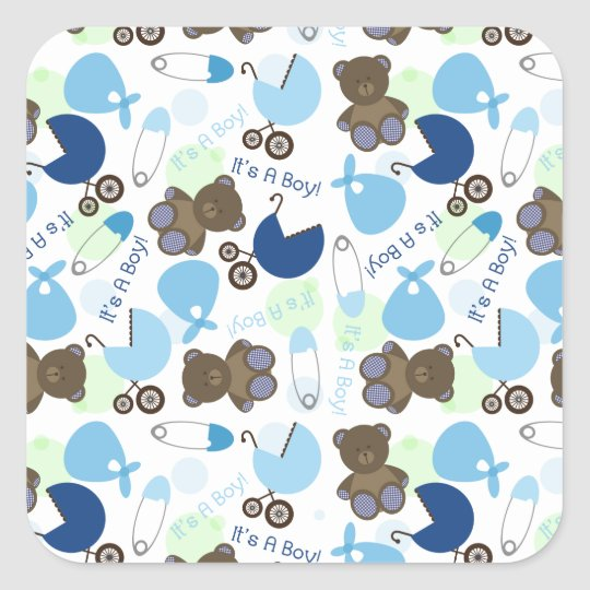 It's a Boy Blue Baby Shower Pattern Square Sticker
