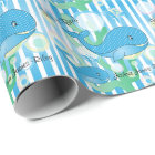 It's a Boy Blue Baby Whales Wrapping Paper