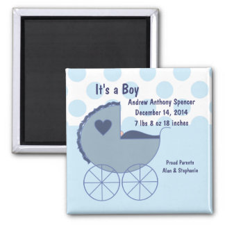 It's a Boy Blue Buggy Announcement Magnet