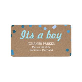 Its A Boy Blue Confetti Rustic Kraft Paper