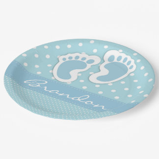 Its A Boy Blue Feet White Polka Dots Pattern 9 Inch Paper Plate