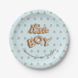 ITS a BOY! Blue/gold paper plate 7 Inch Paper Plate