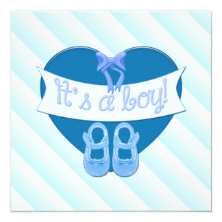 It's a boy Blue Heart Shoes Baby Boy Shower Invite
