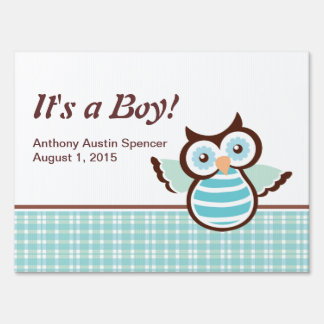 It's a Boy Blue Owl Yard Sign