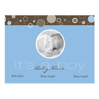 It's a Boy - Blue Postcard Dots - Add YOUR picture