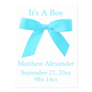 It's A Boy Blue Ribbon Bow Birth Announcemant Postcard