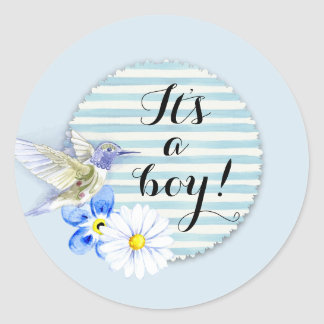 It's a boy! Blue sticker for a baby shower.