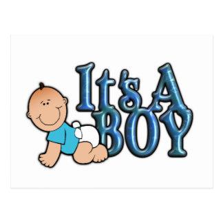 It's A Boy Blue Text w/Baby Announcement Postcard
