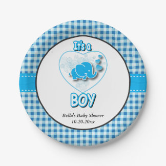 It's A Boy, Blue & White Plaid with Baby Elephant 7 Inch Paper Plate