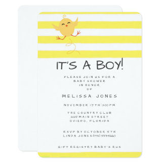 It's A Boy Bouncing Baby Chicken Yellow Shower Card