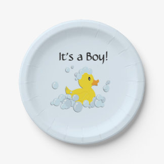 It's a Boy Bubble Baby Shower Blue Paper Plate