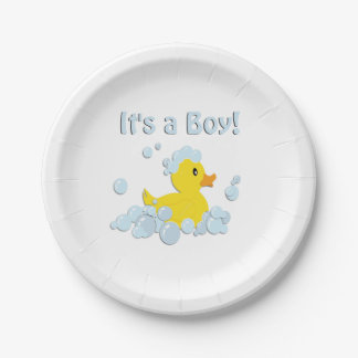 It's a Boy Bubble Baby Shower Paper Plate