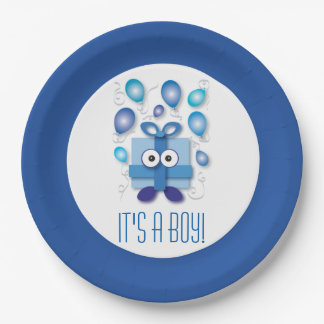 It's a Boy Cartoon Box Gender Reveal Baby Shower Paper Plate