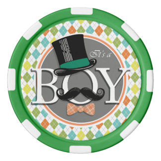 It's a Boy!  Colorful Argyle Set Of Poker Chips