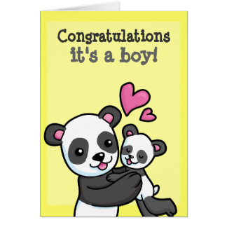 It's a boy customisable Panda Bear cuddle Card