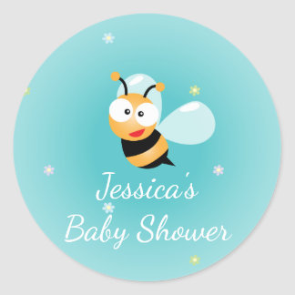 It's a Boy Cute Bumble Bee Blue Boy Baby Shower Classic Round Sticker