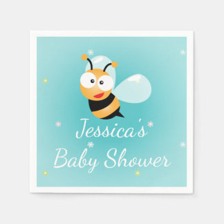 It's a Boy Cute Bumble Bee Blue Boy Baby Shower Disposable Napkin