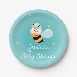 It's a Boy Cute Bumble Bee Blue Boy Baby Shower Paper Plate