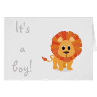 Its a boy cute lion birth card announcement