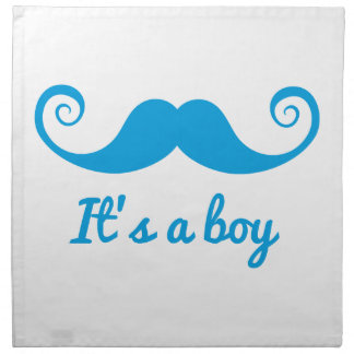 it's a boy design with blue mustache for baby printed napkin