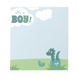 It's a boy dinosaur egg notepad. notepad