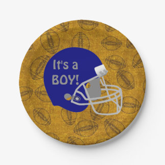 It's a Boy Football themed Baby Shower Paper Plate