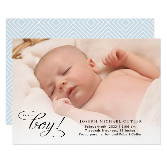 It's a Boy Full Photo Birth Announcement