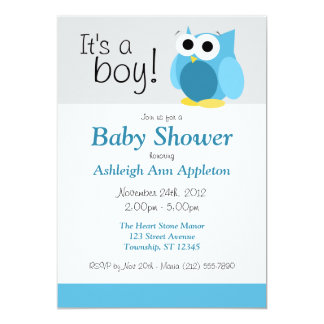 It's a boy! Funny Blue Owl Baby Shower Invitations