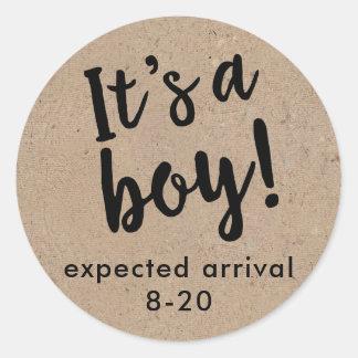It's A Boy Gender Reveal Kraft Style Sticker