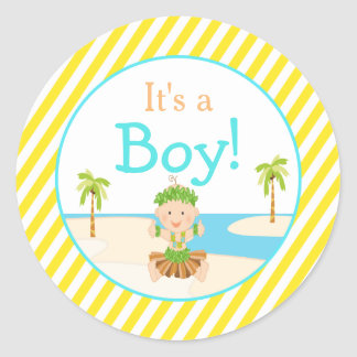 'It's a Boy' Hula Tropical Baby Shower Classic Round Sticker