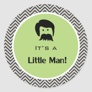 It's a boy, little man green chevron stickers. classic round sticker