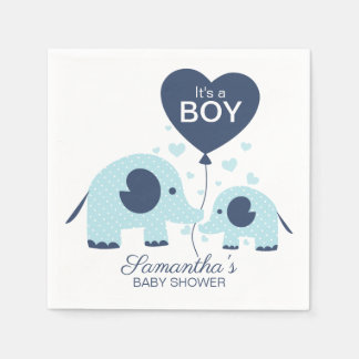 It's a Boy Lovely Blue Elephant Baby Shower Paper Napkin