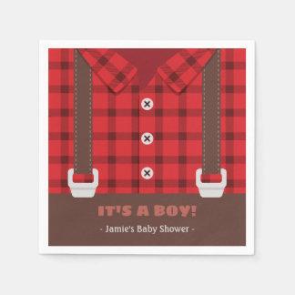 Its a Boy Lumberjack Plaid Baby Boy Shower Napkins