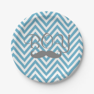 It's a Boy Mustache Theme Baby Shower Paper Plates