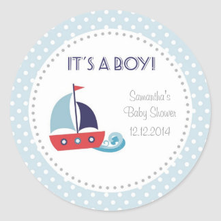 It's A Boy Nautical Sailboat Baby Shower Stickers